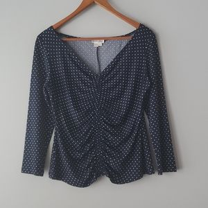 Andre Oliver Blue V Neck Ruched Polka Dot Shirt 6P